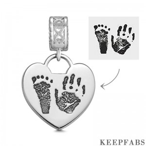 Photo Charm with Child's Footprint, Remembrance Jewelry Platinum Plated - Silver