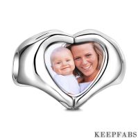 Fingers Heart Photo Charm Silver