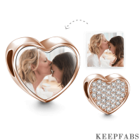Heart Photo Charm with Pave CZ Rose Gold Plated Silver
