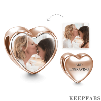 Heart Engraved Photo Charm Rose Gold Plated Silver