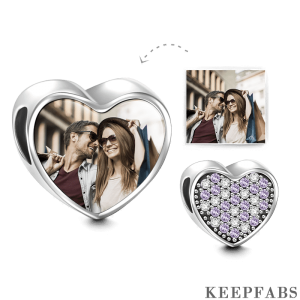 Pave Purple Swarovski Crystal Heart Photo Charm Silver