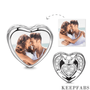 Heart Cladda Photo Charm Platinum Plated Silver
