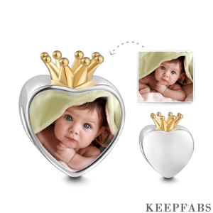 Crown Photo Charm 18k Gold Plated Silver