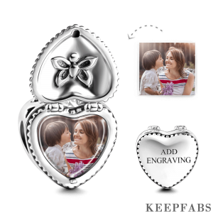 Heart Gift Box Engraved Photo Charm Silver
