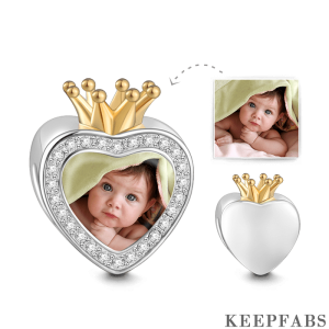Crown Swarovski Crystal Photo Charm 18k Gold Plated Silver