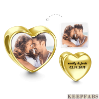 Engraved Heart Photo Charm 14k Gold Plated Silver