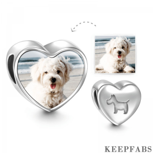 Pet Dog Heart Photo Charm Silver