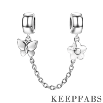 Butterfly and Flower Safety Chain Silver