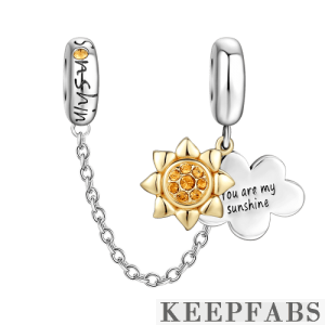 You are my sunshine Safety Chain Rose Gold Plated Silver