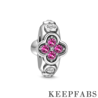 Pink Flower Stopper Charm Silver