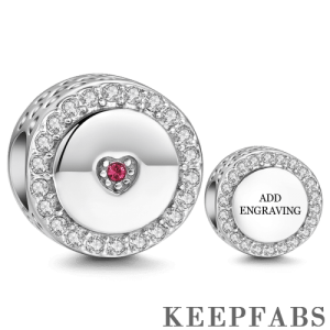First Love Engraved Silver Charm with Swarovski Crystal