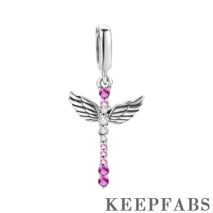 Cross with Wings Dangle Charm