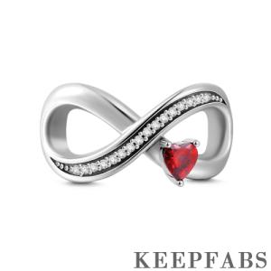 Infinity Love with Red Heart Charm Silver