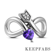 Infinity Love with Purple Heart Charm Silver