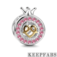 Little Princess in My Heart Charm 14k Gold Plated Silver