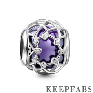 Purple Crystal Net Charm Silver