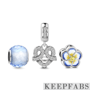 Lucky Flower Charm Set of 3 Silver