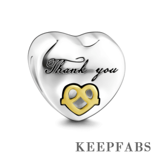Thank You Charm 14k Gold Plated Silver