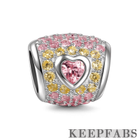 Pink Heart Crystal Oval Charm Silver
