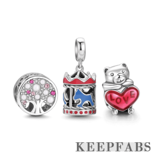 Trip to Amusement Park Charm Set of 3 Silver