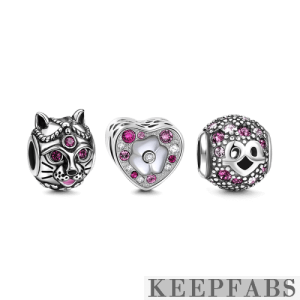 Magic Cat Charm Set of 3 Silver