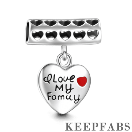 I Love My Family Dangle Charm Silver