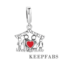 Silver Family Home Love Forever Dangle Charm with Swarovski Crystal