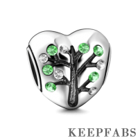 Tree of Love Silver Charm with Green Swarovski Crystal