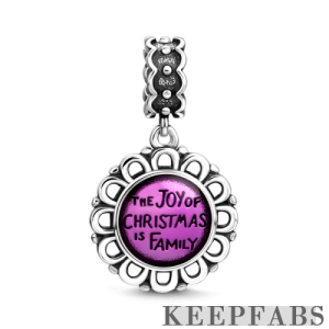The Joy of Christmas is Family Dangle Charm Silver