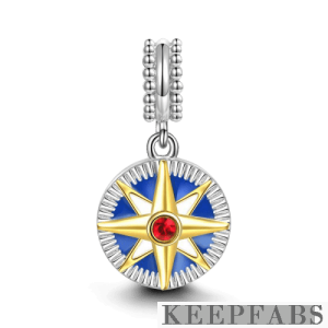 Compass Dangle Charm 14k Gold Plated Silver
