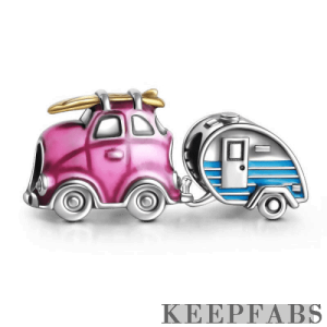 Travel Car and Trailer Charm Set of 2 Silver