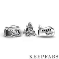 Journey Scenery Charm Set of 3 Silver