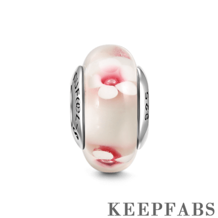 Pink Peach Flower Murano Glass Bead Silver