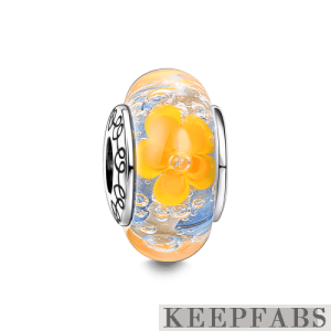 Blooming Flowers Murano Glass Bead Silver