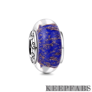 Gold Dust Murano Glass Bead Silver
