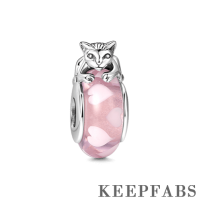 Cat on Dainty Hearts Pink Murano Glass Bead Silver