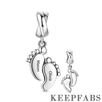Engraved Baby Feet Dangle Charm Silver