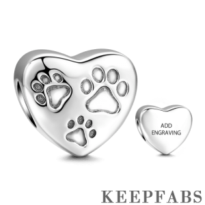 Engraved Pawprint Charm Silver