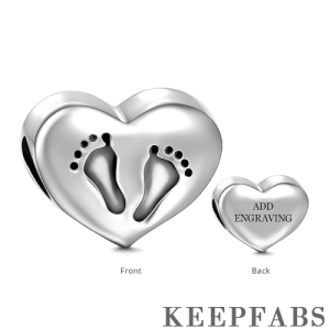Heart Footprint Engraved Charm Silver