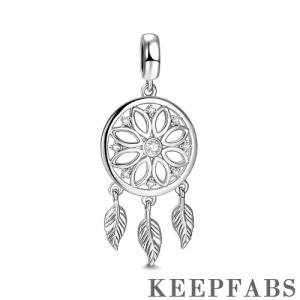 Silver Dreamcatcher Dangle Charm with CZ