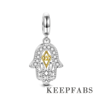 Hamsa Hand 14k Gold Plated Dangle Charm Silver