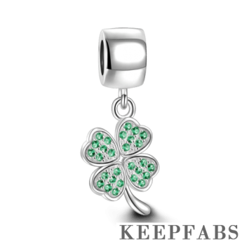 Green Four Leaf Clover Dangle Charm Silver