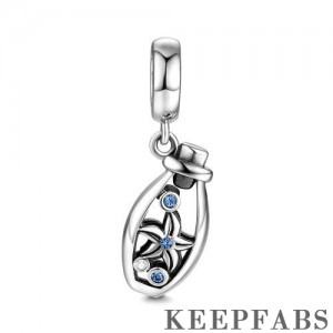 Wishing Bottle Charm Blue Silver
