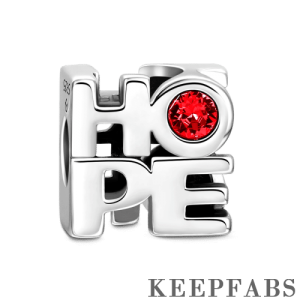 Hope Silver Charm with Red Swarovski Crystal