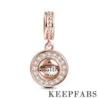 Sister is a Forever Friend Dangle Charm Rose Gold Plated Silver