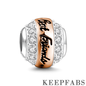 Best Friends Always There Charm Rose Gold Plated Silver