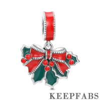 Silver Christmas Holly Leaves Dangle Charm