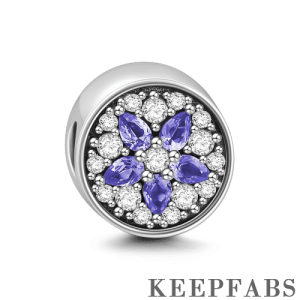 Purple Flower Crystal Charm Silver