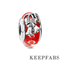 Christmas Bell Red Murano Glass Bead Silver