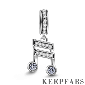 Musical Note Dangle Charm Silver